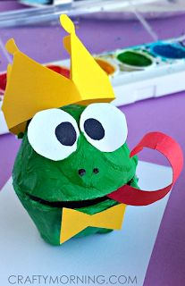 Frog crafts and/or turtle crafts for toddlers, preschool and kindergarten kids. Easy turtle craft id Frog Crafts, Fun Crafts For Kids, Arts And Crafts Projects, Toddler Crafts, Projects For Kids, Art For Kids, Fairy Tale Crafts, Turtle Crafts, Egg Carton Crafts