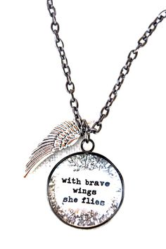 with brave wings she flies necklace [CNL2] - $40.00 : Beth Quinn Designs , Romantic Inspirational Jewelry