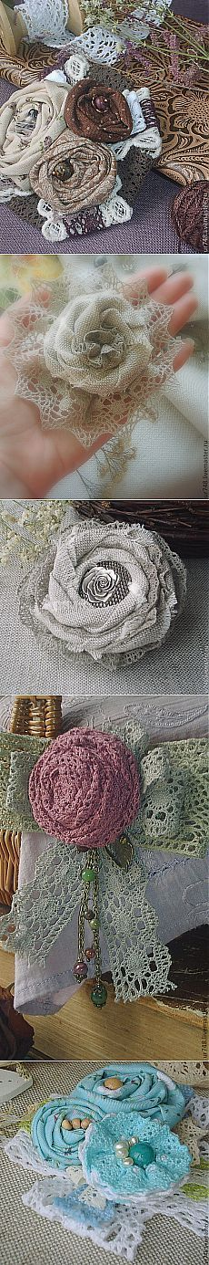 Textile brooches in BOHO style from two skilled workers Flores Shabby Chic, Shabby Chic Flowers, Burlap Flowers, Burlap Lace, Lace Flowers, Crochet Flowers, Fabric Flowers, Fabric Ribbon, Burlap Crafts