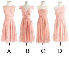 Blush Short Chiffon Bridesmaid Dresses, Cheap Pink Chiffon Bridesmaid Dress, Cap Sleeves Bridesmaid Dress on Etsy, $105.33