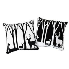 Black and White Deer in the Forest Pillow
