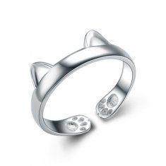 Carino argento 925 placcato gatto anello di apertura orecchio per donne registrabili