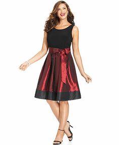 SL Fashions Plus Size Sleeveless Pleated Side Bow Dress