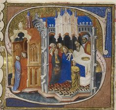 The Presentation of Christ in the Temple,  in a manuscript used by the Carmelite Friars in London c.1375  (the 'Reconstructed Carmelite Missal now in the British Library)
