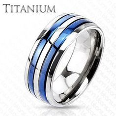 True Blue Titanium - Dual Blue Bands Beautifully Crafted Blue Titanium Comfort-Fit Ring. #BuyBlueSteel #Jewelry