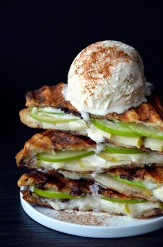 Apple Pie Panini by Just a Taste. French toast meets apple pie in this quick and easy recipe for Apple Pie Panini topped with vanilla ice cream.