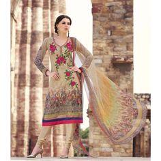 MultiColored Viscose Indian #Churidar Kameez With Dupatta- $52.63