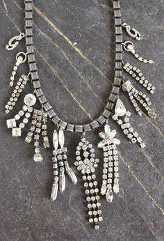 Vintage Rhinestone Waterfall  Chains Black Fabric Choker Necklace TLC