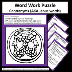 Word Work Puzzles are great motivators for students to practice language skills. Contragrams are words that have contradictory meanings. They are also known as Janus words after the Roman God Janus, who is pictured with two faces looking in opposite directions. Relief Teacher, Critical Thinking Activities, Higher Order Thinking, Substitute Teacher, Thematic Units, Janus, Upper Elementary, Word Work, Literacy Centers