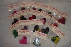 Valentine crayons and tags that I made.