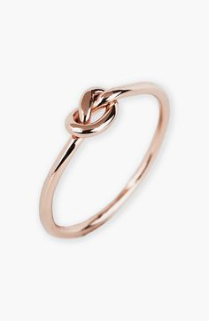 Love this delicate rose gold mini knot ring.