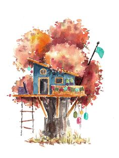 Tree House 2 I Use Watercolours To Paint Whimsical Tree Houses Watercolor Trees, Watercolor Background, Abstract Watercolor, Watercolor Paintings, Watercolours, Simple Watercolor, Tattoo Watercolor, Watercolor Animals, Watercolor Techniques
