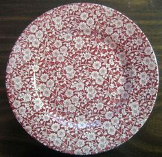 Decorative Dishes - Red Pink Cream Calico Chintz Transferware Plate, $24.99 (http://www.decorativedishes.net/red-pink-cream-calico-chintz-transferware-plate/)