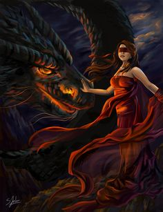 Tame Your Rage by Sheridan-J on DeviantArt Pet Dragon, Female Dragon, Dragon Lady, Fantasy Dragon, Fantasy Art, Blind Girl, World Of Fantasy, Magical Creatures, Faeries
