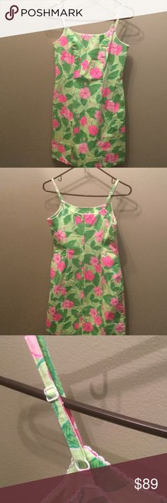 Lilly Pulitzer Resort Sundress Beautiful sundress with adjustable spaghetti straps in a floral/palm leaf print.  In excellent gently used condition Lilly Pulitzer Dresses
