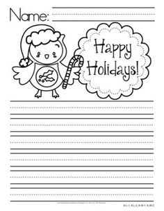 Owl Themed Writing Paper - Manuscript Lined - This manuscript-lined writing paper contains seasonal prompts for owl writing fun throughout the school year. $