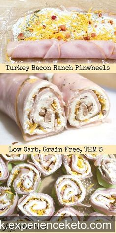 Turkey Bacon Ranch Pinwheels - Low Carb, Grain Free, THM S - #keto #food #home #work #job
