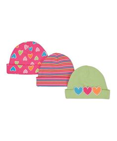 Take a look at this Pink & Lime Heart Beanie Set by Lamaze on #zulily today!