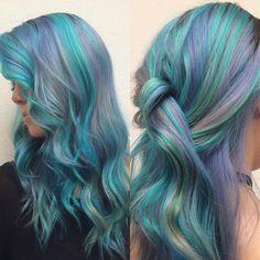 Purple and Green Pastel Mermaid