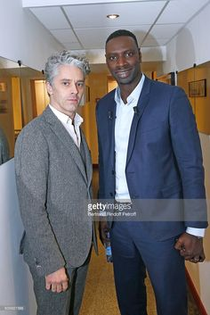 Main guest of the show, Actor Omar Sy (R), and Actor James Thierree (L) present the movie 'Chocolat' during the 'Vivement Dimanche' French TV Show at Pavillon Gabriel on January 20, 2016 in Paris, France.