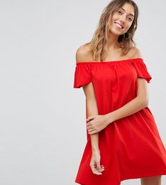 ASOS TALL Off Shoulder Mini Dress - Red