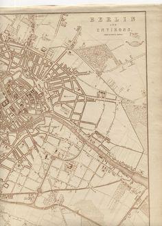 Berlin Map 1863 City Map Plan Germany Antique Prussia Europe King Wilhelm I Fleet Street, City Maps, Prussia, Berlin Germany, My Ebay, Vintage World Maps, Lion, Victorian, Queen
