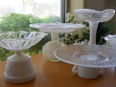 Vintage Milk Glass and Hobnail Glass Candy Buffet, Wedding Dessert Pedestals. $67.00, via Etsy.
