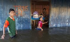 Children walk in front of a small bar in a street flooded by the rising Rio Solimoes, one of the two main branches of the Amazon River, in Anama, Amazonas state, Brazil June 3, 2015. REUTERS/Bruno Kelly