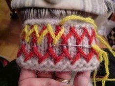 Här kommer en liten beskrivning med bilder hur jag gör mina Lovikkavantar. Det är ingen utförlig instruktion utan mer en inblick i de oli... Wool Embroidery, Embroidery Patterns, Knitting Patterns, Diy Crochet And Knitting, Crochet Mittens, Xmas Stockings, Mitten Gloves, Yarn Crafts, Hand Sewing