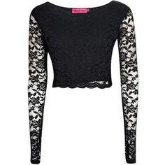 Boohoo Sienna Long Sleeve Lace Crop Top