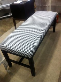 Reserved For Rachele Shabby Chic Bench With Black And White Checkerboard Fabric…