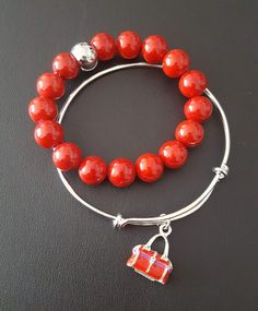 """""""GIRLY GIRL""""  Red Beaded Bracelet & Adjustable Bangle Bracelet w/Red Purse Charm    LET'S PAY IT FORWARD TOGETHER!  #50heartsofjoy  ❤ OF JOY 