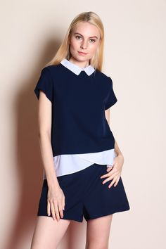 Colour Block Collar Shirt Romper (Navy) SGD$ 38.00