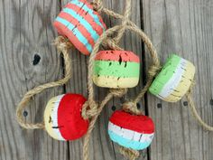 Cork Buoys. Nautical Buoys on Rope. Bright by searchnrescue2