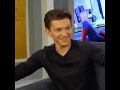 he's so nervous and shy to sing bless him . Amazing Spiderman, Spiderman Spiderman, Baby Toms, Tom Holland Peter Parker, Marvel Jokes, Favorite Person, Short Film, Disney, Tommy Boy