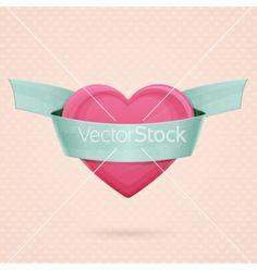 Heart and ribbon three vector - by frostyara on VectorStock®