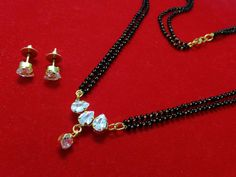 22k gold three diamond leaf mangalsutra pendant with earrings