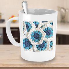 Crochet Hexie / Love Crochet Mug - Custom Name - Crafty Coffee Mug - Crocheting Gift Ideas Love Crochet, Crochet Gifts, Design Your Own Mug, Personalised Gifts Unique, Star Print, Mug Designs, Custom Mugs, Crochet Projects, Best Gifts
