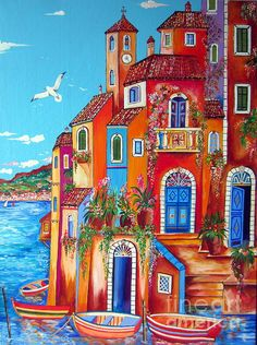 Southern Italy Amalfi Coast Village by Roberto Gagliardi Great Paintings, Beautiful Paintings, Southern Italy, Naive Art, Silk Painting, Whimsical Art, Landscape Art, Diy Art, Home Art
