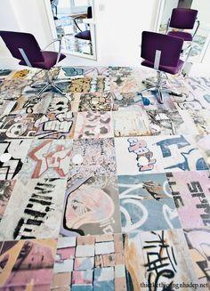 Graffiti floor tiles.