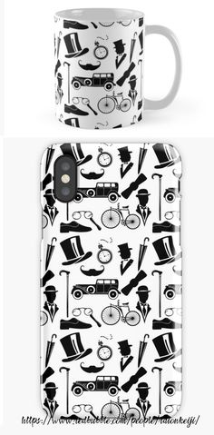 Get classy with this stylish gentleman's vintage inspired pattern of top hats, mustaches, canes, cars, pocket watches, and more shown here on a mug and iPhone case. Perfect gift idea for him or anyone wanting to class up their style. Design also on Samsung phone cases, shirts, notebooks, and more. Find here (Scroll down and click 'Available Products' to see the design on other items)…