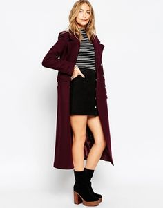 ASOS Maxi Military Coat with Contrast Buttons