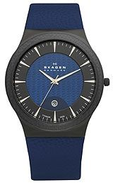Skagen Black Blue Titanium Mens watch,Polished silver tone sword hands using luminous accents along with sweep seconds