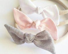 Bitsy knot bow set Strawberry Patch Nylon by LavenderParade