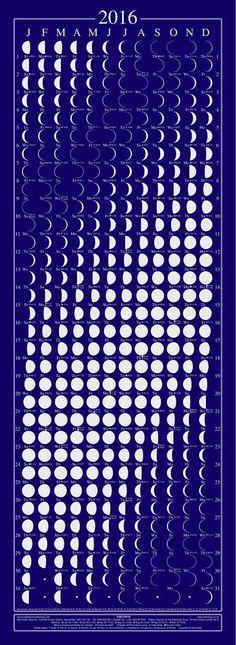 Equinox 2016 Moon Phase Calendar - Beautifully Silk Screened