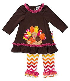f0bc909a490 Rare Editions 324 Months Thanksgiving TurkeyAppliqued Dress and  ChevronPrinted Leggings Set  Dillards Thanksgiving Outfit