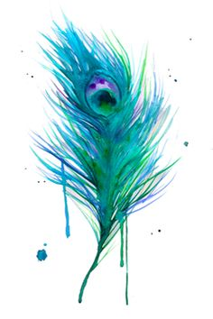 watercolor tattoos are so beautiful, especially this one because i LOVE peacock feathers. but the only thing about water color tattoos though is that without the outline to keep the color in place, the ink will begin to bleed out and morph the tattoo.