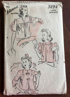1940s Womens Bed Jacket Advance 3096 Sewing Pattern Plus Size L Bust 40-42 VTG…
