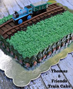 Thomas Friends Train Cake using box cake mix and store bought frosting. Thomas Birthday Cakes, Thomas Birthday Parties, Thomas Cakes, Trains Birthday Party, 2 Birthday Cake, Train Party, Birthday Ideas, Thomas And Friends Cake, Chuggington Birthday