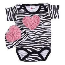 Zebra pink heart onesie
